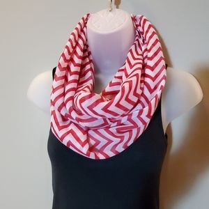 Women's Chevron Infinity Scarf, Red and white